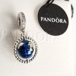 Pandora Spinning Globe Dangle Charm Silver new